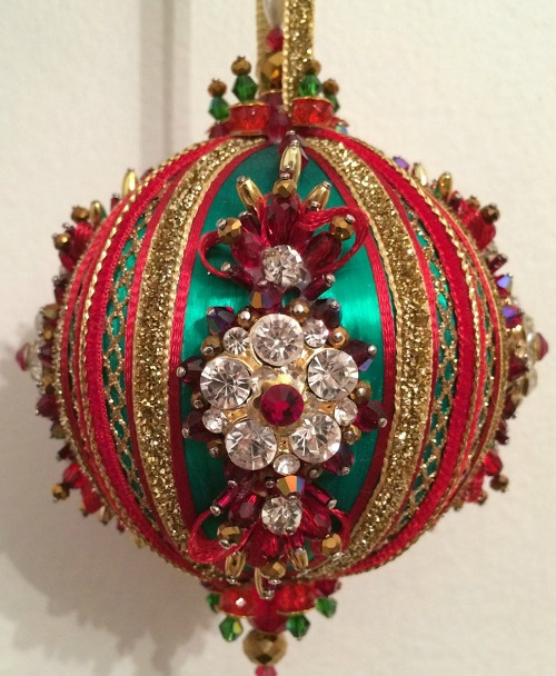Vintage Handmade Beaded Christmas bauble ornament