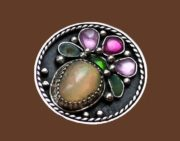 Daisy ring. opal, chrome diopside, ruby, chrysoprase, nickel silver with silvering