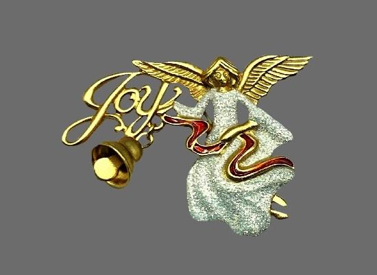 Joy Angel brooch. Gold tone textured metal, glitter white enamel