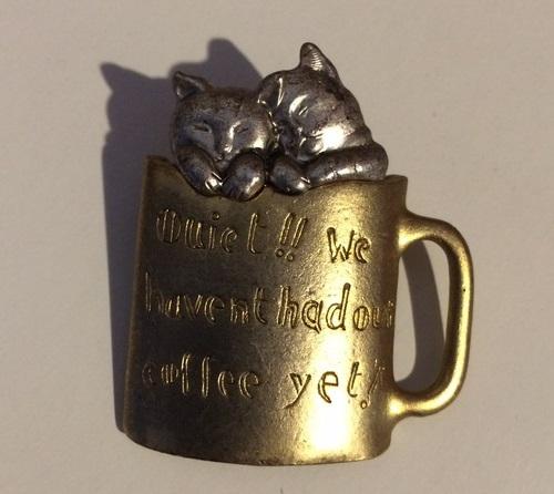 Cats in a mug brooch