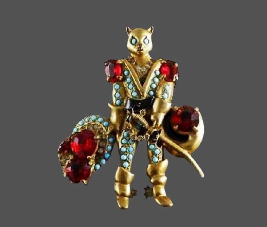Puss in Boots brooch. Gold tone, art glass, rhinestones