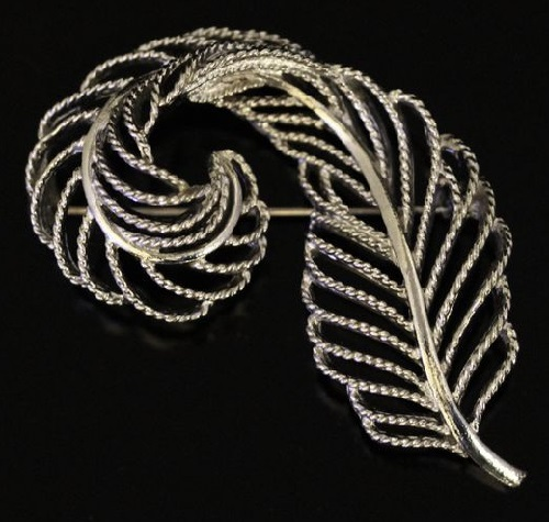 'Silver feather' brooch. 1960s