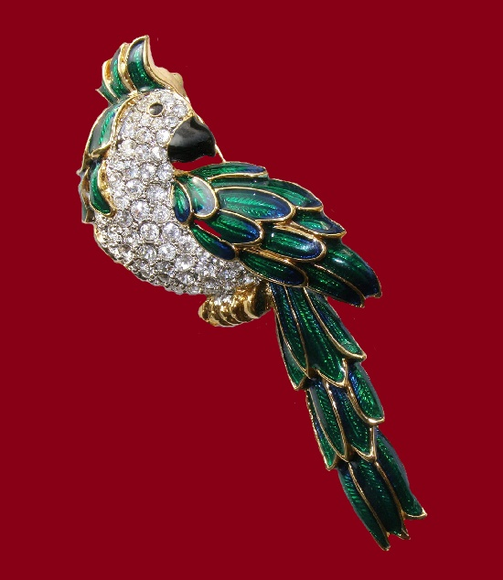 Emerald parrot from the Glamour collection. Jewelry alloy, Swarovski crystals, enamel gold plated. 7,5 cm. 1990s