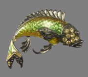 Fish brooch. Jewelry alloy, rhinestones, enamel