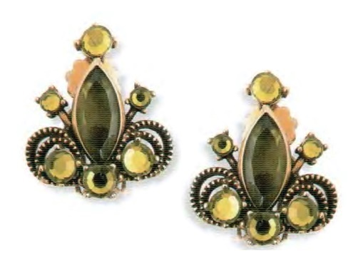 Fleur-de-lis earrings. An antique metal of gold tone, green and transparent rock crystal. 1950's. length 2.5 cm £ 15-20 MILLB