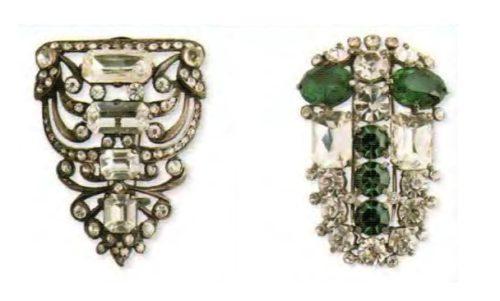Fur clips. Left - Silver, Swarovski rhinestone. Early 1940s. 5.75 cm. £ 165-200 ABIJ. Right - rhodium plated metal, transparent and emerald Swarovski rock crystal. 1940s 7.5 cm £ 200-250 ABIJ