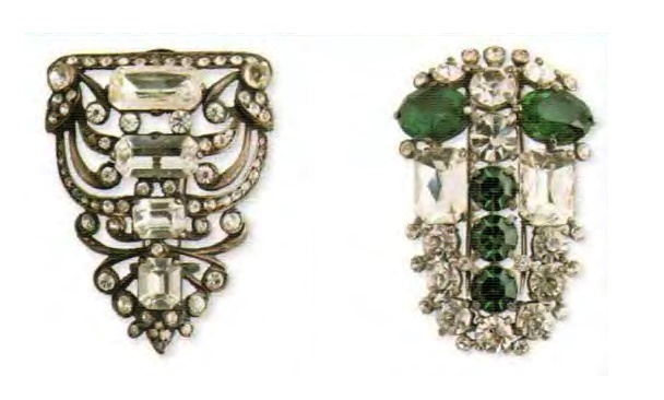 Fur clips. Left - Silver, Swarovski rhinestone. Early 1940s. 5.75 cm. £ 165-200 ABIJ. Right - rhodium plated metal, transparent and emerald Swarovski rock crystal. 1940s 7.5 cm £ 200-250 ABIJ