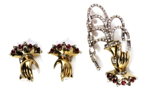 Hand set brooch and earrings. 1949-1950