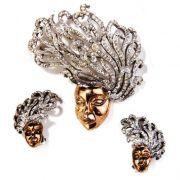 Medusa brooch and earrings