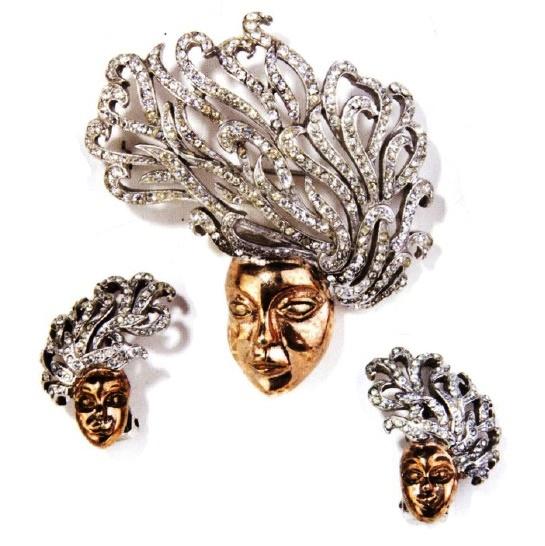 Medusa brooch and earrings