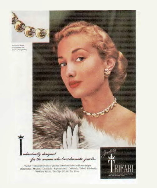 Modern and exquisite - so represented the necklace and earrings of the Trifari 'Comet' in the advertisement of the late 1950s