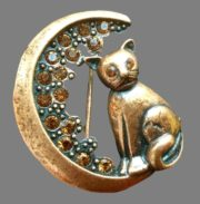 Moon cat pin. 1970s. Metal, copper, crystals, rhinestones, glass