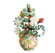 Mother of Pearl Brooch. Jade, coral, vase of cast glass. The end of the 1990s. 12 cm. £ 150-200 CRIS