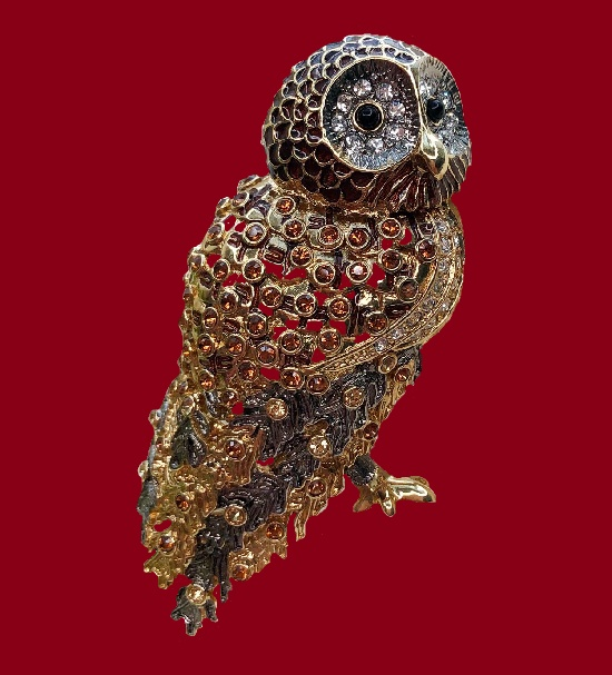 Owl brooch. Gold tone metal, enamel, Swarovski crystals. 1980s