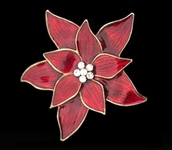 Poinsettia vintage brooch in gold tone covered with hot enamel, Swarovski rhinestones. 5 cm. 1990s