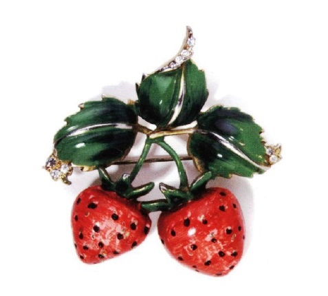 Raspberry enameled brooch with rhinestones. Reja. 1941