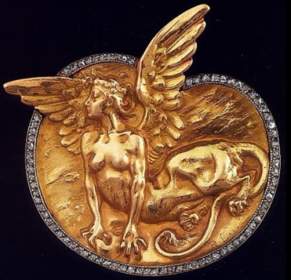 Mythical creature brooch. Rene Jules Lalique Art Nouveau jewellery