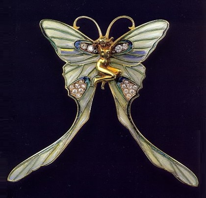 Butterfly Woman brooch/pin. Rene Jules Lalique Art Nouveau jewellery