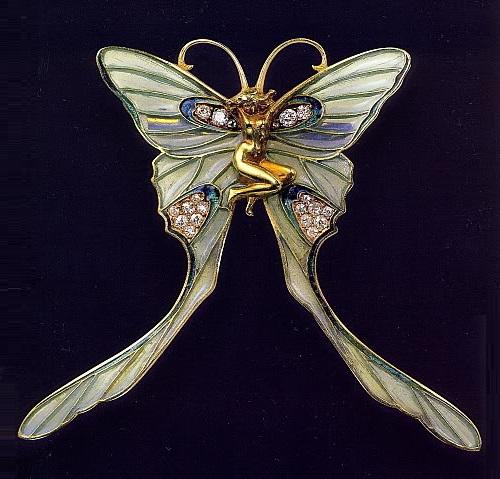 Butterfly Woman brooch/pin. Rene Jules Lalique Art Nouveau jewellery