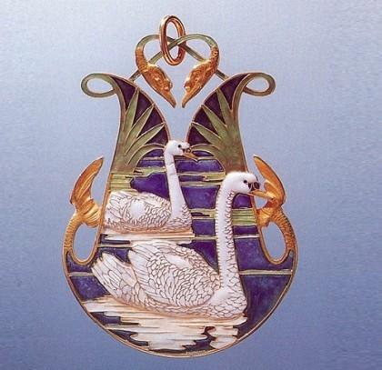 White swans brooch