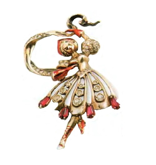 Russian dancer brooch. Gilded silver, red enamel, Swarovski rock crystal. Early 1940s. 9 cm £ 800-900 CRIS