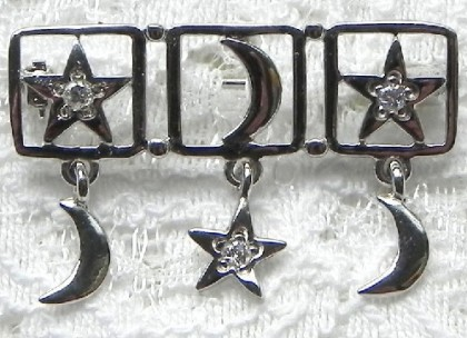 Silver brooch with pendants, Danecraft, US, month, stars, Rhodium