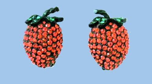 Strawberry Earrings. Ruby and emerald crystal, lacquered metal. 1940s £ 45-55 JJ