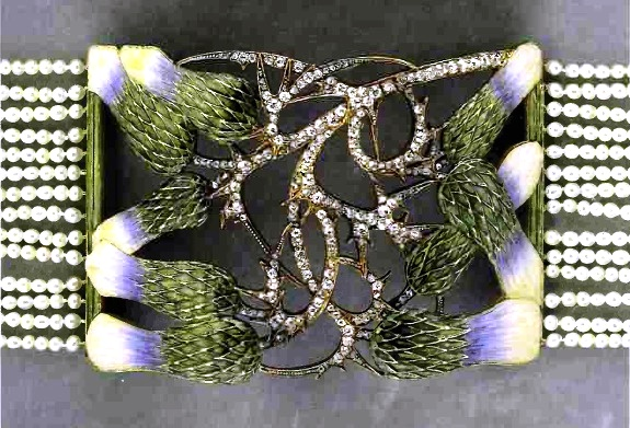 Thistle collar plague. Thistle pattern in enamel. Its spiky stem is inspired by Lalique, which is diamonds.