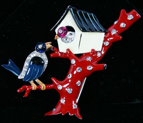 Enameled Birds and Birdhouse Pin Clip