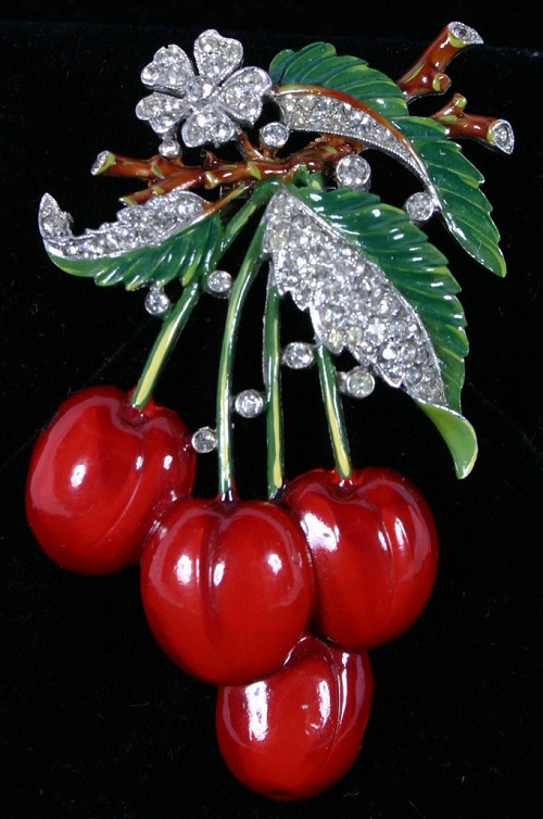 Cherries pin brooch. Deep red and green enamel with rhinestones
