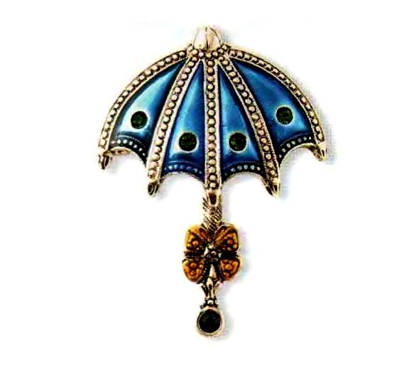 Umbrella brooch. White metal with gilding, enamel, rhinestone. 1980s 4.5 cm. £ 30-35 JJ