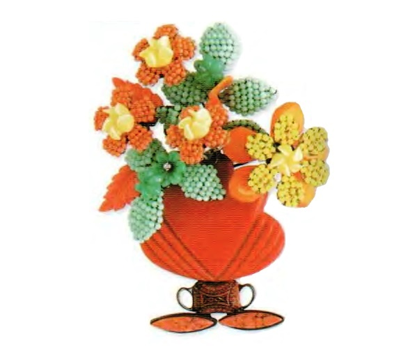 Vase with flowers Brooch. Colored glass, jade, coral, yellow glass beads. The end of the 1990s. 11.5 cm £ 125-150 CRIS