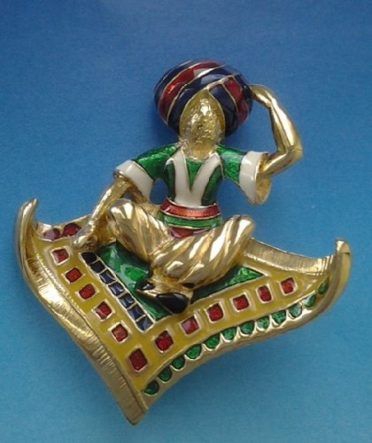 Fabulous vintage Brooch 'Aladdin'. Jewellery alloy, enamel, rock crystal