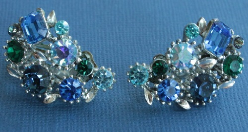 Clips, colored rhinestones, silver tone metal