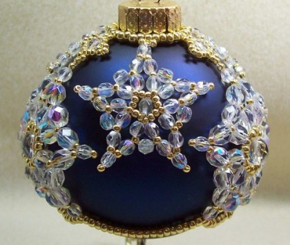 Vintage Handmade Beaded Christmas bauble ornament