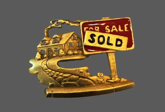 Sold house Realtor Pin Brooch. Gold tone metal, enamel