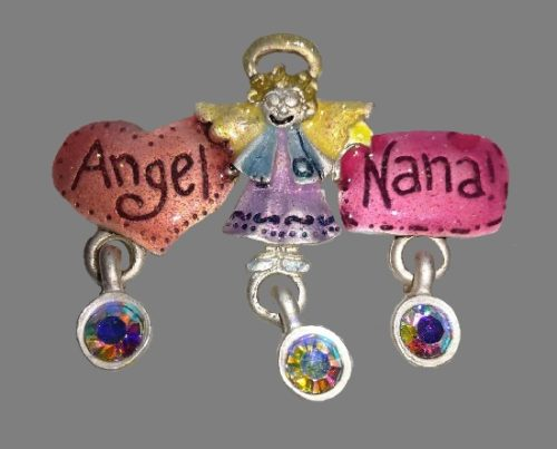 Angel Nana brooch with charms. Gold tone metal, pewter, aurora borealis crystals, enamel. 4,5 cm. 1980s
