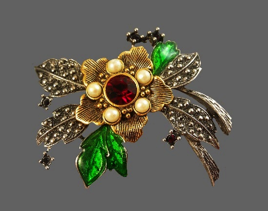 Flower brooch. Book piece 1992. Silver tone metal, enamel, faux pearls, crystals. 6.5 cm