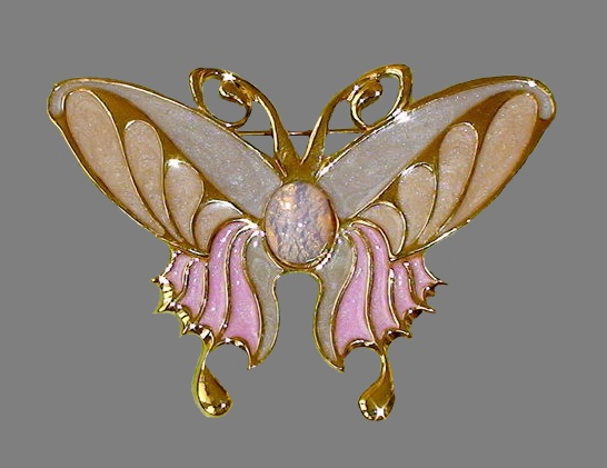 Butterfly brooch. Jewelry alloy, enamel