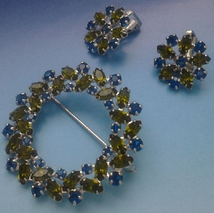 Exquisite B. David vintage set of brooch and clips