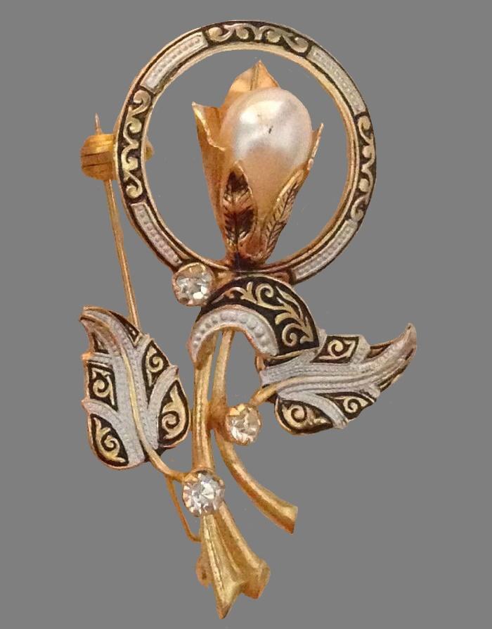 Beautiful flower brooch. Damascene gold filled, faux pearls, enamels