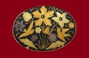 Birds and flowers oval brooch. Jewelry alloy, golden tone, blackened. 4.5 cm