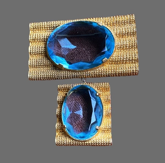 Blue stone 18 K gold plated brooch