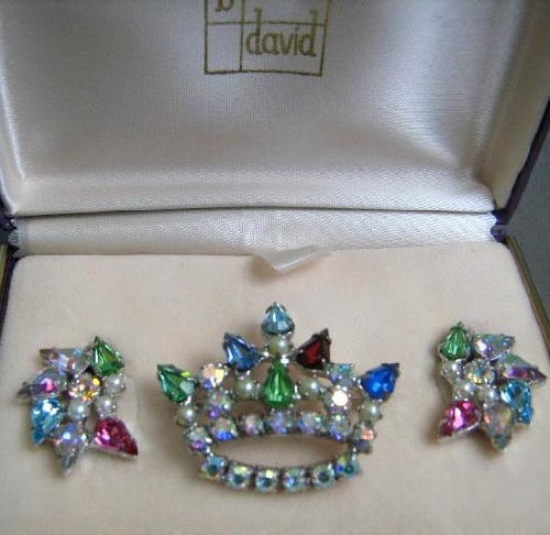 Brooch and earrings collectible costume jewelry from the company B. David