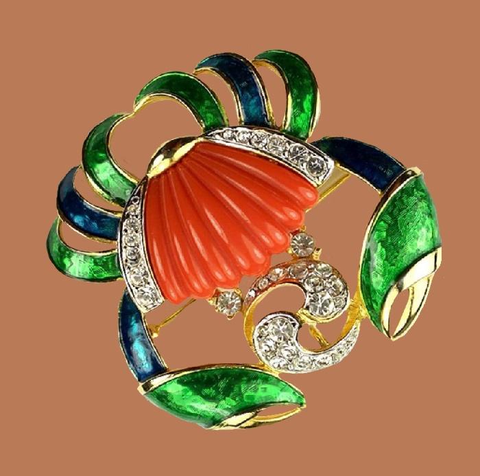 Cancer zodiac sign brooch. Jewelry alloy, rhinestones, enamel