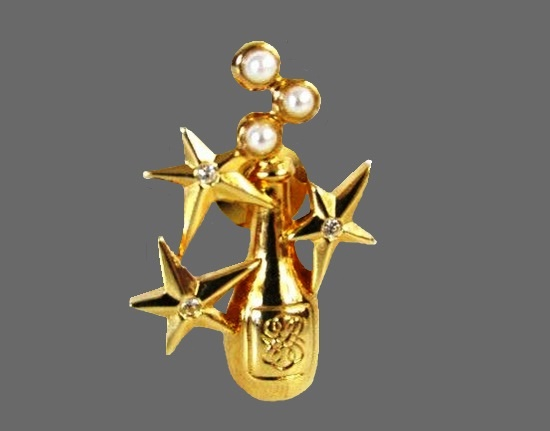 Champagne, stars and bubbles vintage brooch. Gold tone metal, faux pearls, rhinestones