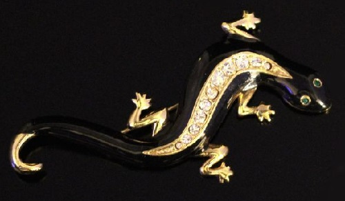 Charming vintage brooch 'Lizard' from Avon enamel black. labeled
