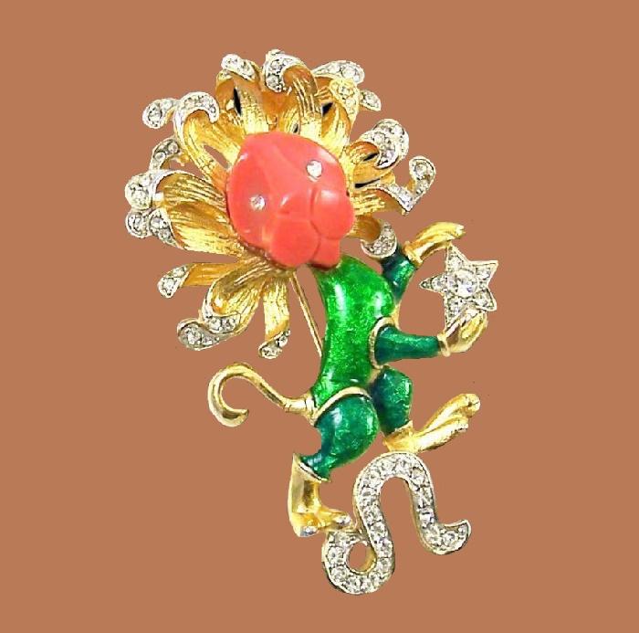 Leo zodiac sign. Jewelry alloy, crystals, enamel