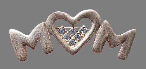 Love MM vintage brooch, 1980s. Pewter, rhinestones