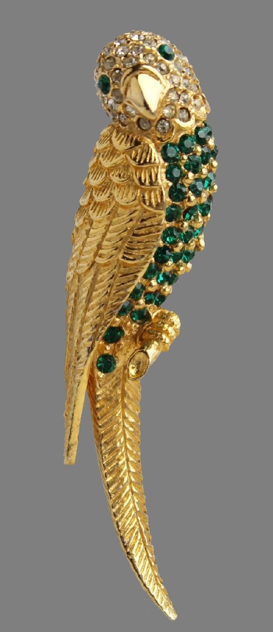 Parrot brooch. Gold tone metal, rhinestones. 7.5 cm. 1970s